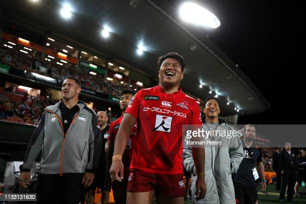Hiroshi Yamashita of the Sunwolves celebrates after winning the round three Super Rugby match between the Chiefs and the Sunwolves at FMG Stadium...