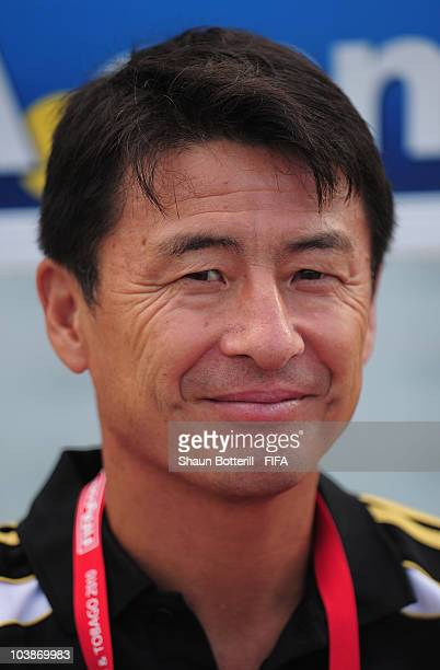 Hiroshi Yoshida coach of Japan before the FIFA U17 Women's World Cup Group C match between Spain and Japan at the Ato Boldon Stadium on September 6...