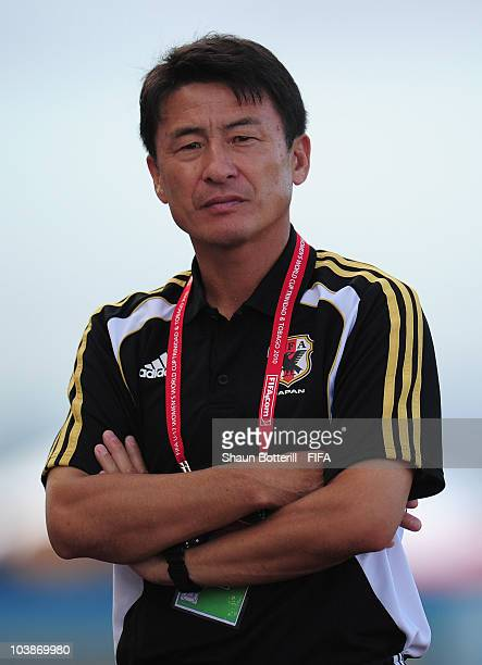 Hiroshi Yoshida coach of Japan during the FIFA U17 Women's World Cup Group C match between Spain and Japan at the Ato Boldon Stadium on September 6...