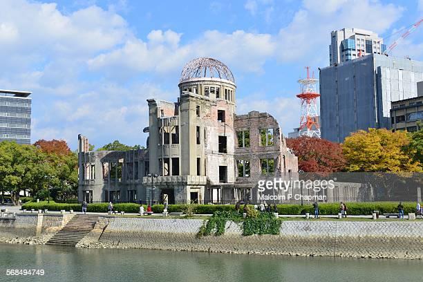 hiroshima, a-bomb (genbaku) dome, japan - hiroshima city stock photos and pictures