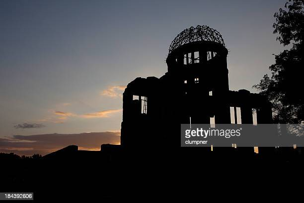 hiroshima a-bomb dome (genbaku domu), twilight view - dome stock pictures, royalty-free photos & images