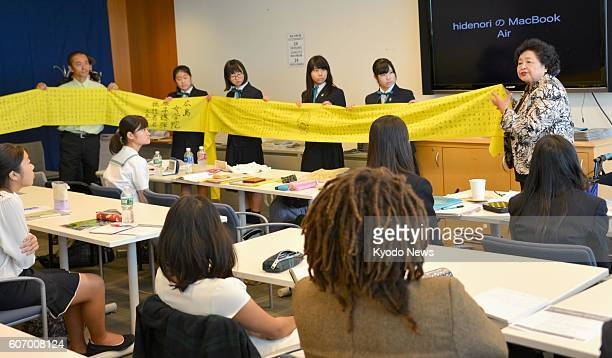 Hiroshima atomic bomb survivor Setsuko Thurlow speaks to students in the youth peace conference at the UN headquarters in New York on Sept 16 2016...