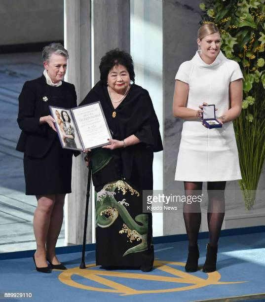 Hiroshima atomic bombing survivor Setsuko Thurlow and Beatrice Fihn executive director of the International Campaign to Abolish Nuclear Weapons...