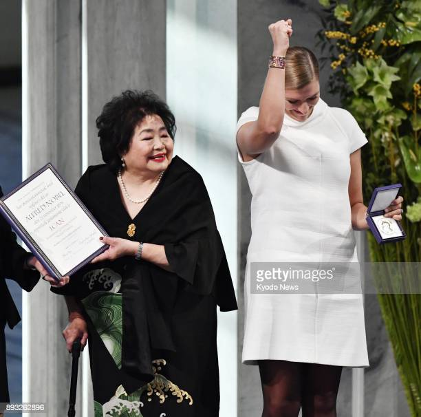 Hiroshima atomic bombing survivor Setsuko Thurlow and International Campaign to Abolish Nuclear Weapons executive director Beatrice Fihn receive the...