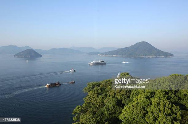hiroshima bay, seto inland sea, japan on spring morning - hiroshima city stock photos and pictures
