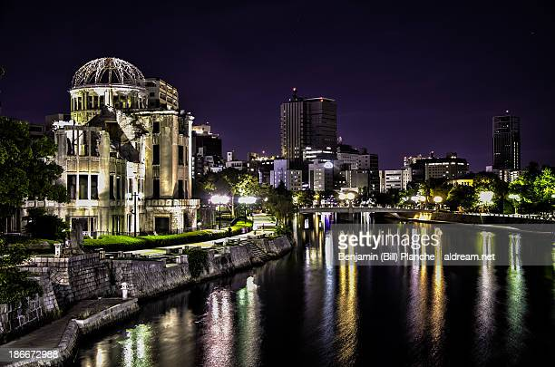 hiroshima by night (hdr) - hiroshima peace memorial stock photos and pictures