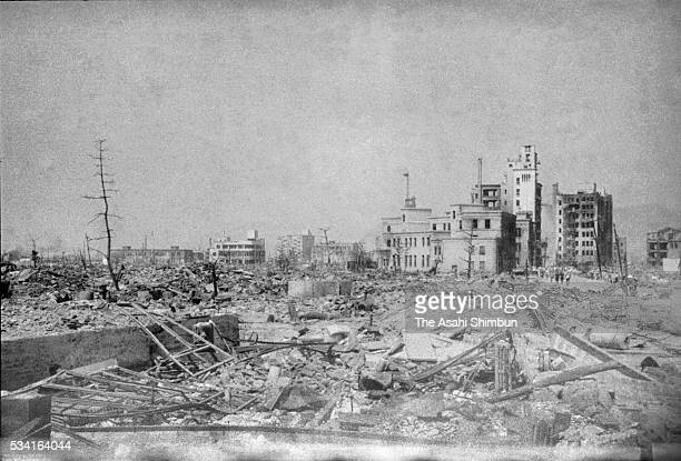 Hiroshima City destroyed by the atomic bomb in August, 1945 in Hiroshima, Japan. The world's first atomic bomb was dropped on Hiroshima on August 6,...