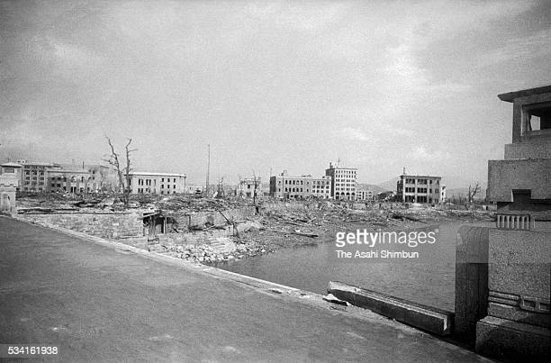 Hiroshima City five days after the atomic bomb dropped from Motoyasubashi Bridge on August 10, 1945 in Hiroshima, Japan. The world's first atomic...