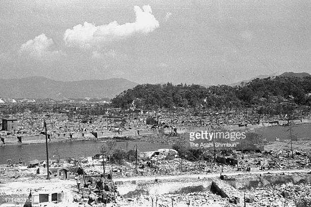 Hiroshima city general view from Hiroshima Higashi Police Station on August 10, 1945 in Hiroshima, Japan. The world's first atomic bomb was dropped...