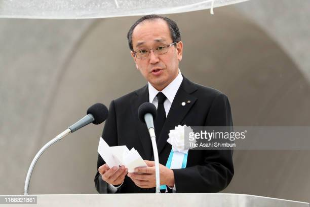 Hiroshima City Mayor Kazumi Matsui reads the Peace Declaration during the Peace Memorial Ceremony on the 74th anniversary of the atomic bombing of...