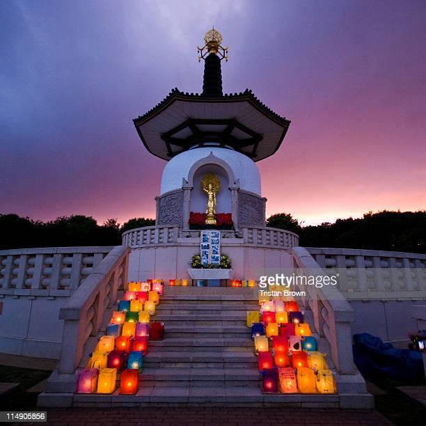 hiroshima day at willen lake - milton keynes stock photos and pictures