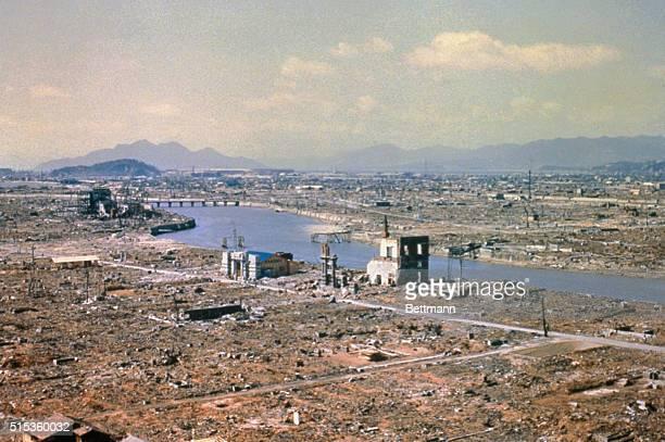 Aerial view of Hiroshima Japan after atomic bombing during World War II