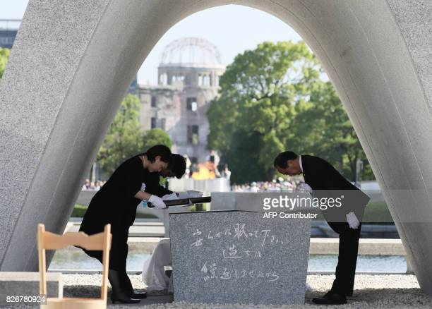 TOPSHOT Hiroshima Mayor Kazumi Matsui offers a new list of Abomb dead people who died since last year's anniversary from the side effects of...