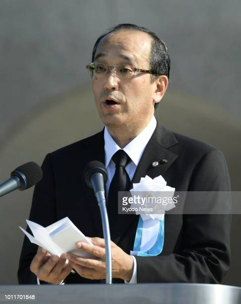 Hiroshima Mayor Kazumi Matsui reads out the Peace Declaration at a ceremony marking the 73rd anniversary of the US atomic bombing of the western...