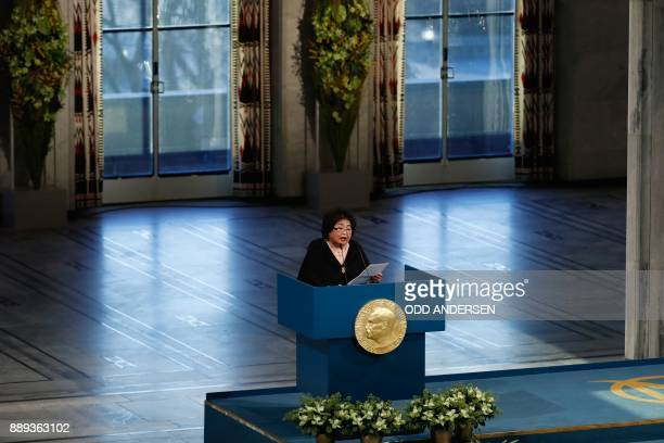 Hiroshima nuclear bombing survivor Setsuko Thurlow who received the 2017 Nobel Peace Prize on behalf of the International Campaign to Abolish Nuclear...