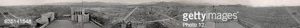 Hiroshima panoramic view after the atomic bomb exploded over the city in 1945.