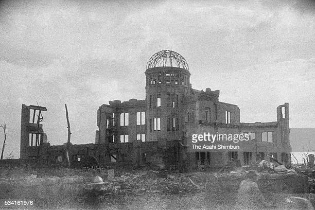 Hiroshima Prefectural Industrial Promotion Hall is destroyed by the atomic bomb in August, 1945 in Hiroshima, Japan. The world's first atomic bomb...