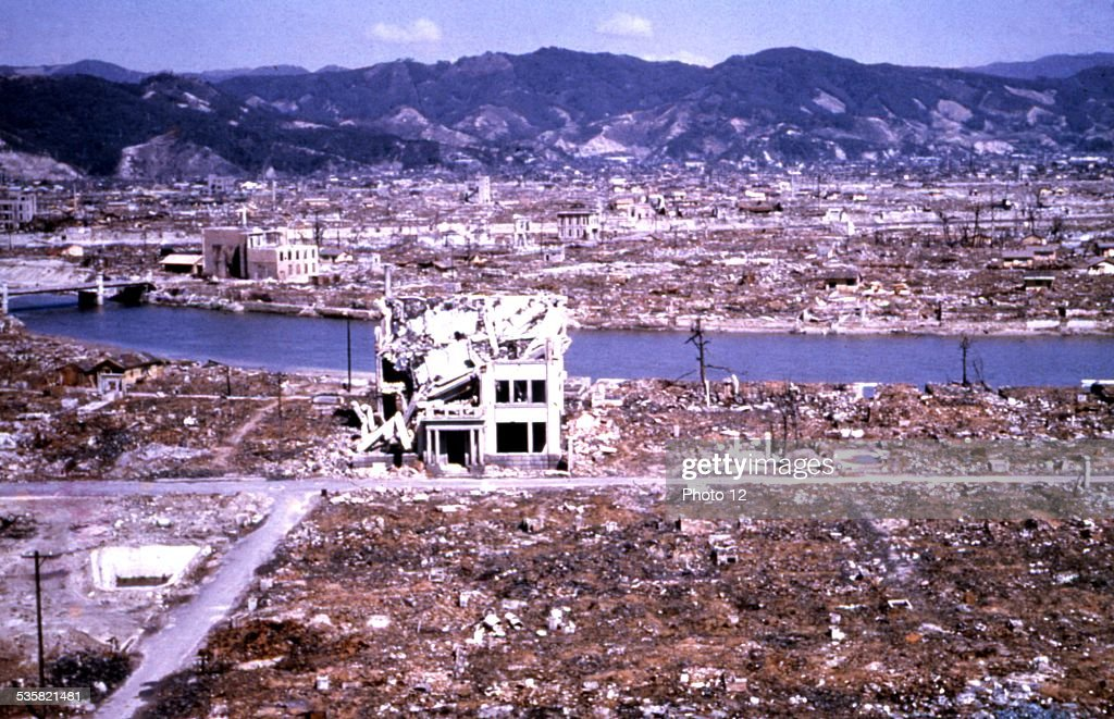 Hiroshima reduced to rubble and ruins by the atomic bomb ...