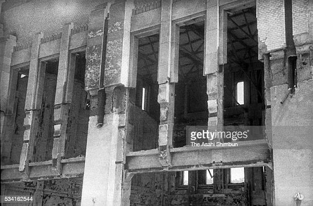 Hiroshima Station is destroyed by the atomic bomb in August, 1945 in Hiroshima, Japan. The world's first atomic bomb was dropped on Hiroshima on...