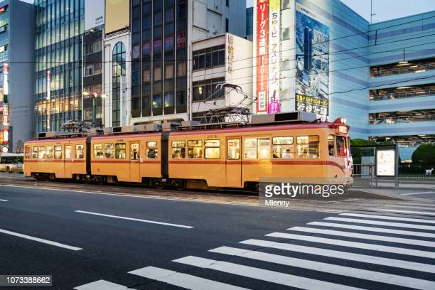 hiroshima streetcar at twilight japan - hiroshima imagens e fotografias de stock