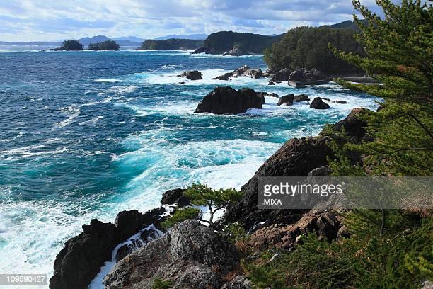 hirota peninsula and kurosaki cliff, rikuzentakata, iwate, japan - iwate prefecture stock pictures, royalty-free photos & images
