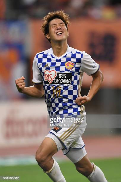 Hirotaka Mita of Vegalta Sendai celebrates scoring his side's second goal during the J.League J1 match between Albirex Niigata and Vegalta Sendai at...