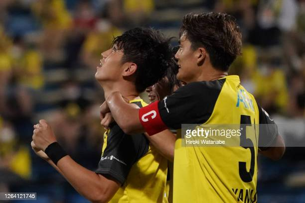 Hiroto Goya of Kashiwa Reysol celebrates scoring his team's first goal during the J.League YBC Levain Cup Group D match between Kashiwa Reysol and...