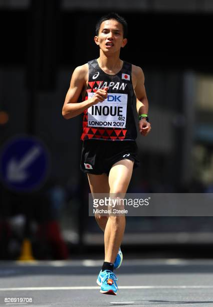 Hiroto Inoue of Japan competes in the Men's Marathon during day three of the 16th IAAF World Athletics Championships London 2017 at The London...