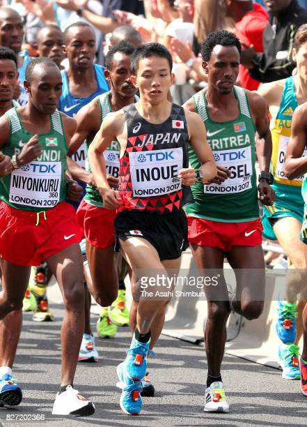 Hiroto Inoue of Japan competes in the Men's marathon during day three of the 16th IAAF World Athletics Championships London 2017 on August 6, 2017 in...