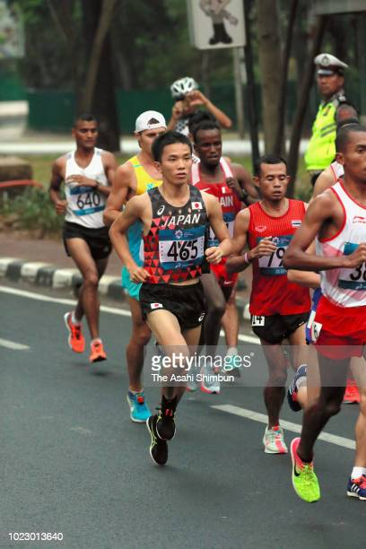 Hiroto Inoue of Japan competes in the Men's Marathon on day seven of the Asian Games on August 25, 2018 in Jakarta, Indonesia.