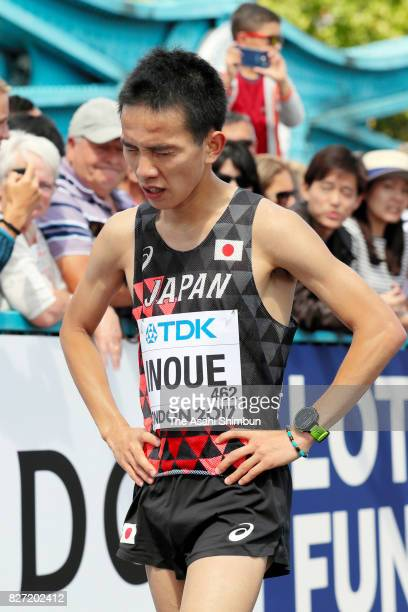 Hiroto Inoue of Japan reacts after competing in the Men's marathon during day three of the 16th IAAF World Athletics Championships London 2017 on...