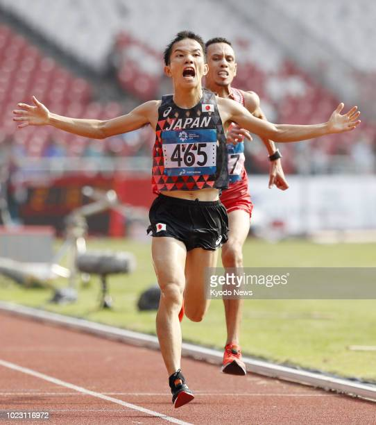 Hiroto Inoue wins Japan's first gold in 32 years in the men's marathon at the Asian Games on Aug. 25 edging Bahrain's Elhassan Elabbassi. ==Kyodo