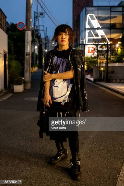 Hiroto is seen wearing Faith connexion jacket, comme des garcons pants and shoes, during the Rakuten Fashion Week Tokyo 2022 Spring/Summer on August...