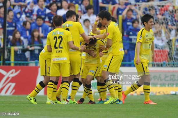Hiroto Nakagawa of Kashiwa Reysol celebrates scoring his side's second goal with his team mates during the JLeague J1 match between Kashiwa Reysol...