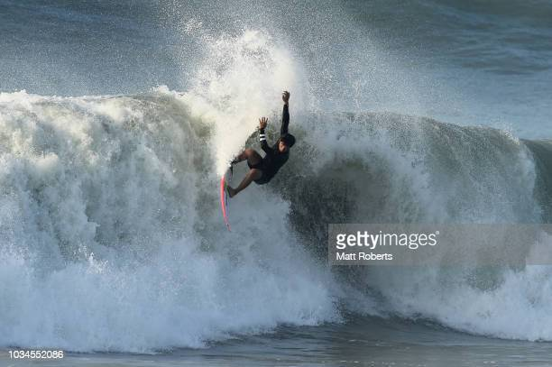Hiroto Ohara of Japan free surfs prior to the ISA World Surfing Games at the Pacific Long Beach on September 17 2018 in Tahara Aichi Japan