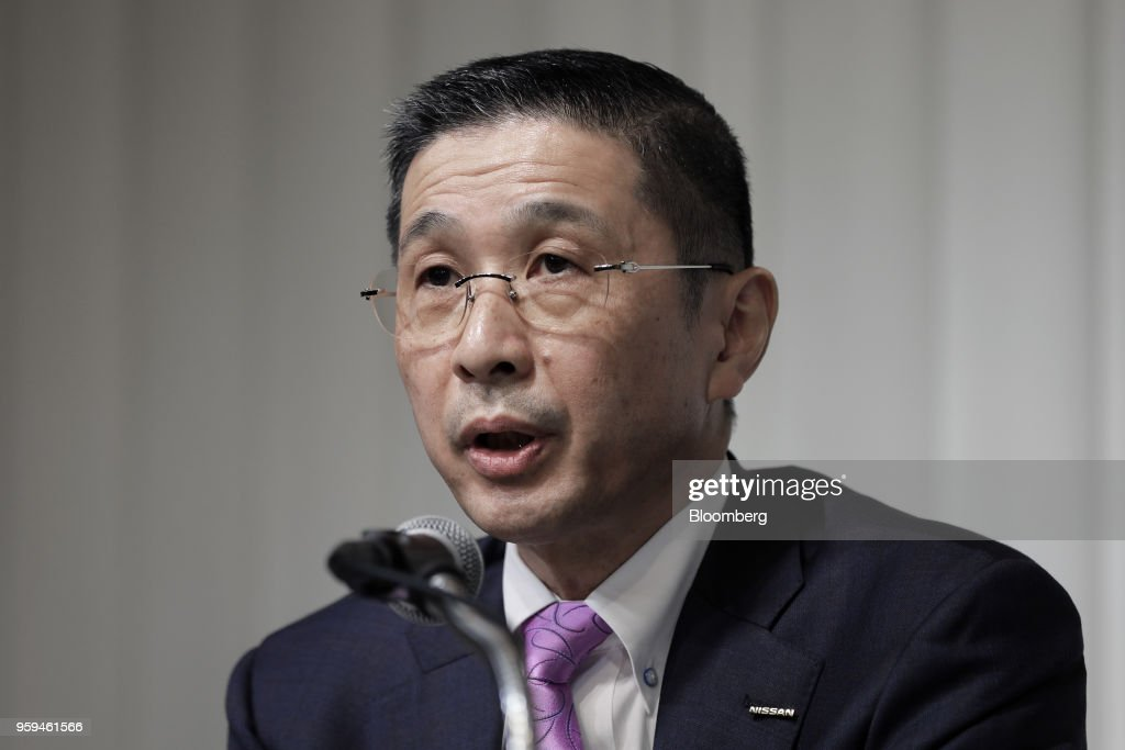 Hiroto Saikawa, president and chief executive officer of Nissan Motor Co. and one of the vice chairmen of Japan Automobile Manufacturers Association Inc. (JAMA), speaks during a news conference in Tokyo, Japan, on Thursday, May 17, 2018. Toyota Motor Corp. president Akio Toyoda became the chairman of JAMA today. Photographer: Kiyoshi Ota/Bloomberg via Getty Images