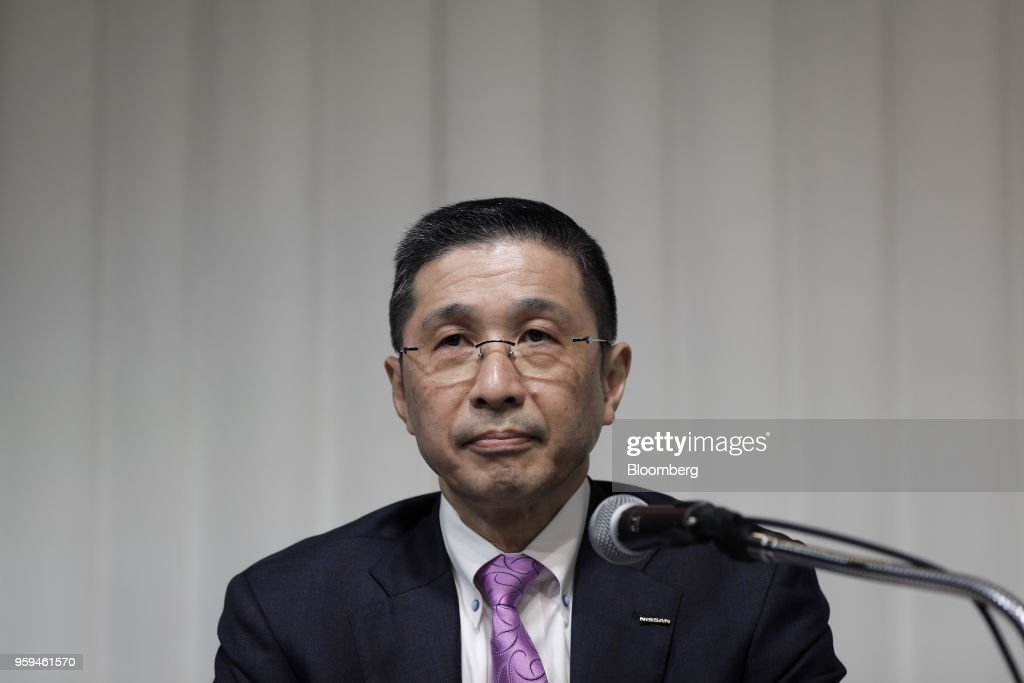 Hiroto Saikawa, president and chief executive officer of Nissan Motor Co. and one of the vice chairmen of Japan Automobile Manufacturers Association Inc. (JAMA), pauses during a news conference in Tokyo, Japan, on Thursday, May 17, 2018. Toyota Motor Corp. president Akio Toyoda became the chairman of JAMA today. Photographer: Kiyoshi Ota/Bloomberg via Getty Images