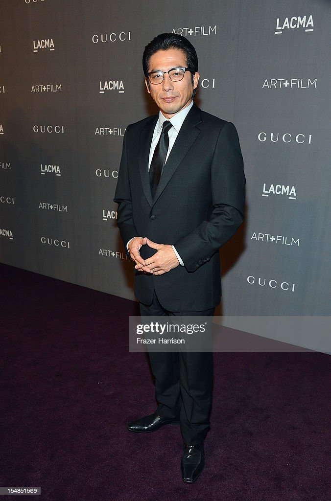 Hirouyki Sanada arrives at LACMA 2012 Art + Film Gala Honoring Ed Ruscha and Stanley Kubrick presented by Gucci at LACMA on October 27, 2012 in Los Angeles, California.