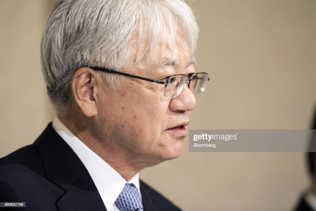 Hiroya Kawasaki, president and chief executive officer of Kobe Steel Ltd., speaks during a news conference in Tokyo, Japan, Friday, Oct. 13, 2017. Kobe Steel said the crisis over faked quality controls has expanded to include another nine products, including items manufactured outside Japan and shipped as long ago as 2007, and that the number of affected customers has risen to about 500. Photographer: Shiho Fukada/Bloomberg via Getty Images