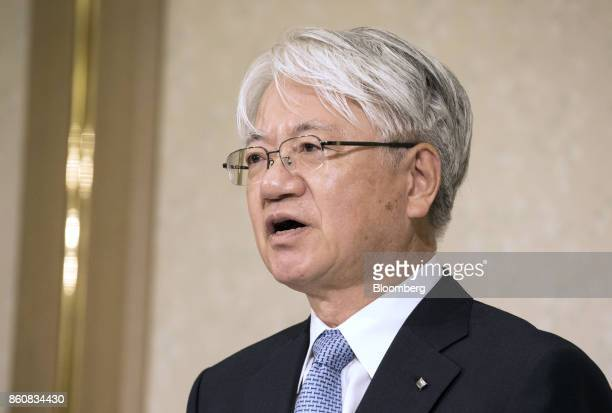 Hiroya Kawasaki president and chief executive officer of Kobe Steel Ltd speaks during a news conference in Tokyo Japan Friday Oct 13 2017 Kobe Steel...