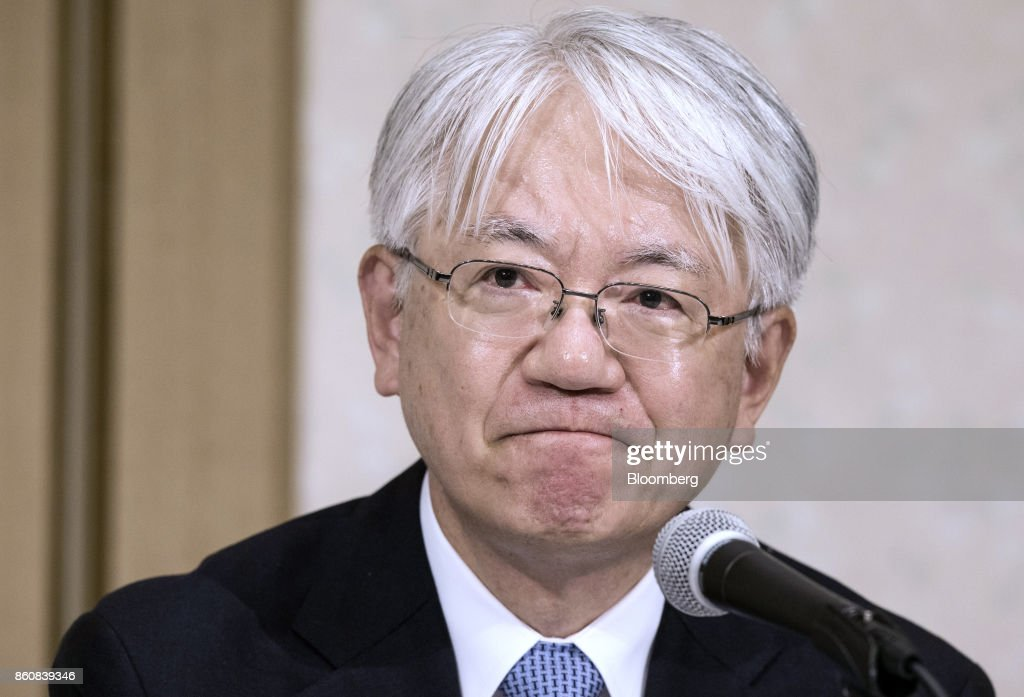 Hiroya Kawasaki, president and chief executive officer of Kobe Steel Ltd., listens during a news conference in Tokyo, Japan, Friday, Oct. 13, 2017. Kobe Steel said the crisis over faked quality controls has expanded to include another nine products, including items manufactured outside Japan and shipped as long ago as 2007, and that the number of affected customers has risen to about 500. Photographer: Shiho Fukada/Bloomberg via Getty Images