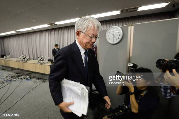 Hiroya Kawasaki president and chief executive officer of Kobe Steel Ltd leaves following a news conference in Tokyo Japan on Thursday Oct 26 2017...