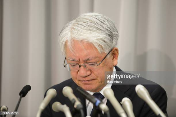 Hiroya Kawasaki president and chief executive officer of Kobe Steel Ltd attends a news conference in Tokyo Japan on Thursday Oct 26 2017 Kobe Steel...
