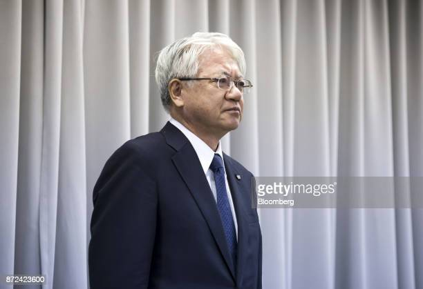 Hiroya Kawasaki president and chief executive officer of Kobe Steel Ltd looks on during a news conference in Tokyo Japan on Friday Nov 10 2017 Kobe...
