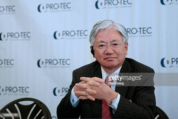 Hiroya Kawasaki president of Kobe Steel Ltd listens during an event at the PROTEC Coating Co facility in Leipsic Ohio US on Monday May 13 2013 PROTEC...