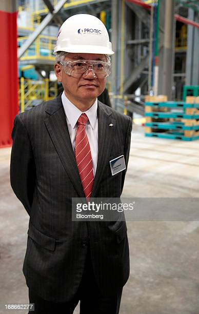 Hiroya Kawasaki president of Kobe Steel Ltd tours the Continuous Annealing Line at the PROTEC Coating Co facility in Leipsic Ohio US on Monday May 13...