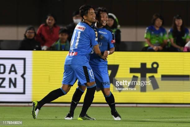 Hiroyuki Abe and Yu Kobayashi of Kawasaki Frontale celebrate the third goal during the JLeague J1 match between Shonan Bellmare and Kawasaki Frontale...