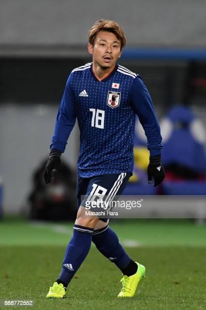 Hiroyuki Abe of Japan looks on during the EAFF E1 Men's Football Championship between Japan and North Korea at Ajinomoto Stadium on December 9 2017...