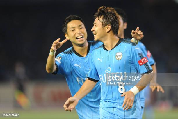 Hiroyuki Abe of Kawasaki Fronta cerebrates scoring his team`s second goal during the JLeague J1 match between Kawasaki Frontale and Urawa Red...