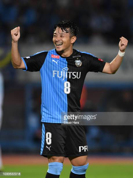 Hiroyuki Abe of Kawasaki Frontale celebrates scoring his side's third goal during the JLeague J1 match between Kawasaki Frontale and Consadole...